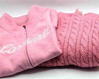 Carhartt Pink Fleece Vest and Karen Scott Cable Knit Sweater
