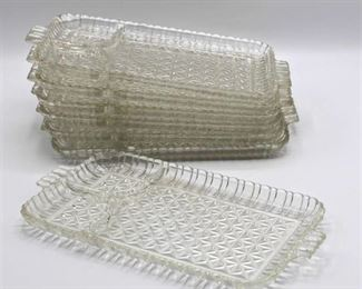 (7) Vintage Crystal Snack Platters