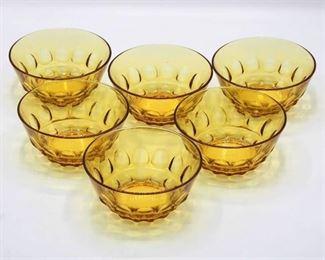 (6) Amber glass bowls