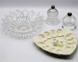 Crystal serving dish, egg platter and (2) Home Interiors candle cups