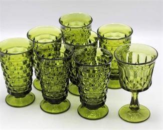 8 piece Vintage green glasses set