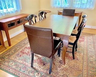 """Pottery Barn """"barn wood"""" extendable dining table and buffet"""