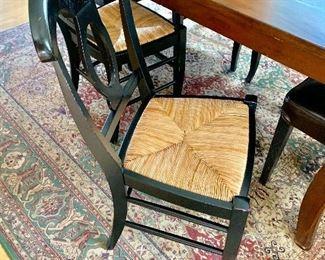 4 Pottery Barn rush seat chairs
