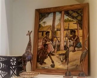 Vintage original  Acrylic painted depicting seated African natives working  (Nonlisted artist)