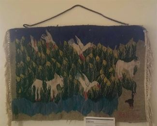 Vintage Egyptian pictorial tapestry Hand woven animals and lilies