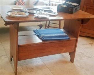 Tilt settle table / bench Antique Pennsylvania Dutch tilt top table Folds to make a bench