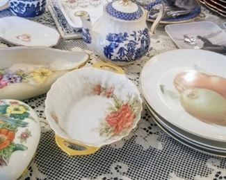 Fruit plates, Small Willow Teapot and more..