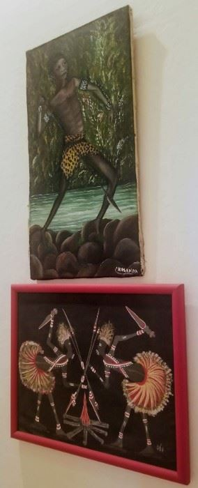 Original painting depicting African native with spear signed P. Casanda (Nonlisted artist)