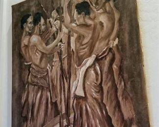 Original painting depicting several African working with Poles signed ogunda (Nonlisted artist)