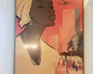 Vintage airline poster Air Congo Leppolaville