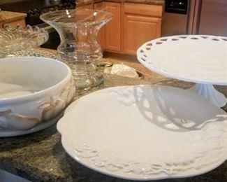 milk glass cake platter
