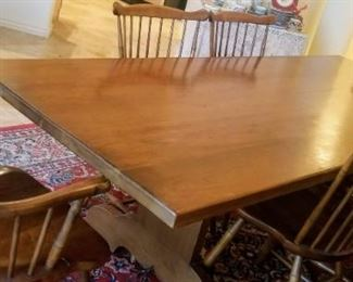 Farmhouse / harvest dining table and chairs L & JG Stickley (Cherry Valley line) and 6 fan back windsor style dining chairs, one is an armchair.