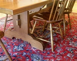 dining table Farmhouse / harvest and chairs L & JG Stickley (Cherry Valley line) and 6 fan back windsor style dining chairs, one is an armchair.