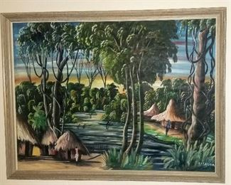 Original painting African landscape with grass huts signed Casanda (Nonlisted artist)