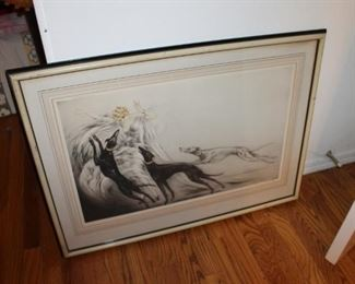 Vintage art deco etchings by Louis Icart, Coursing II and Speed