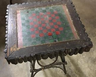 Adirondack twig table with checkerboard top