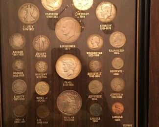 Framed US coin collection