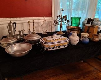 Assorted decorative  & serving wares such as glass, pewter and china