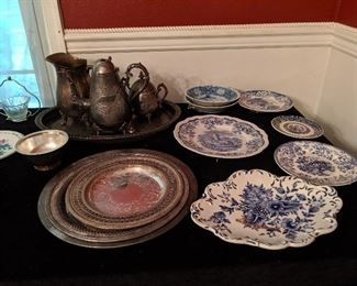 Blue & white China and pewter