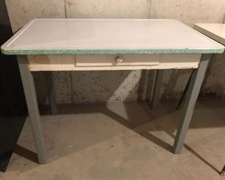 Vintage porcelain top table with wooden drawer & legs