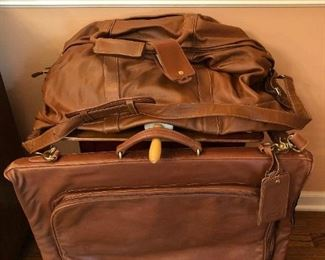 Coach brown leather duffel and garment bag