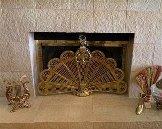 Brass Fireplace Peacock Screen