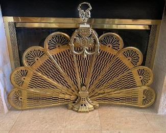 Brass Fireplace Peacock Screen
