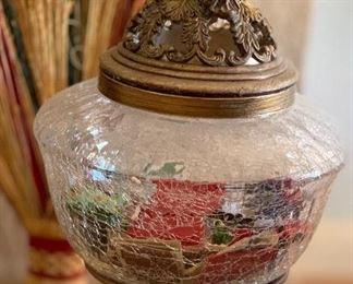 Crackle Glass & Metal Jar