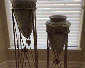 - (2) Ceramic decorative stands (close up)