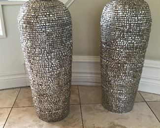 - (2) Large Silver Urns 28 in.