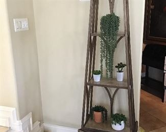 - Marble and Bronze 3 tier decorative shelf - 6 ft tall
