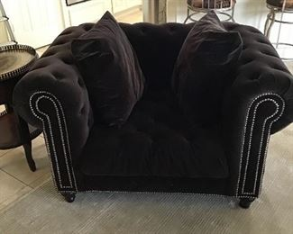 - Oversized tufted chocolate colored armed chair with 2 pillows - Z Gallerie
