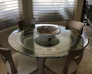 - Gold glass table with (4) chairs