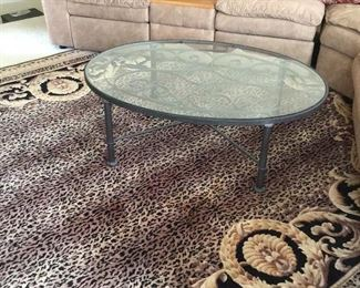 - Oval Rod Iron Black Coffee Table with Glass Top 4ft x 3ft