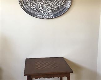 - Metal wall hanging, Antique Game Table with Checkerboard top 32 in x 32 in