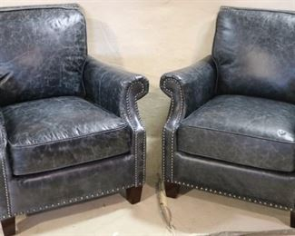Lazzaro Leather chairs in blue marble