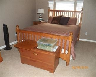 QUEEN BED, CEDAR CHEST, SIDE TABLE