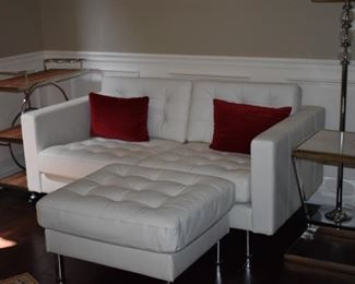 "Beautiful Matching White Leather Love Seat with Matching ""Tufted"" Ottoman. This Matches the Chair and Ottoman in the previous picture."