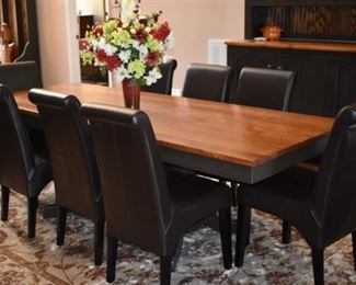 Beautiful Handmade Rooster Tail Dining Set with Hutch, Dining Table and Matching Chairs! Gorgeous Rug also!