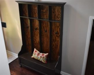 Another View - Entryway Hall Tree with compartmentalized areas for hats/shoes/etc. complete with bench and accented with Wainscoting backing. All Handmade by Rooster Tail of Franklin