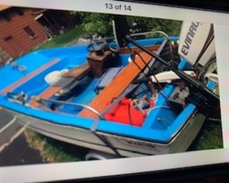13 ft Boston Whaler, 2006 25hp Etec Engine, brand new, very few hours, trailer and power wench, trolling motor, fully rigged for fishing