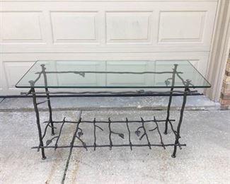 004 Glass and Metal Sofa Table