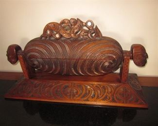 Maori Carved Waka Huia Treasure Box by Hemi Taylor