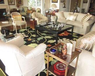 Edward Fields Rugs with Custom Mason Art Sofas Living Room Suite