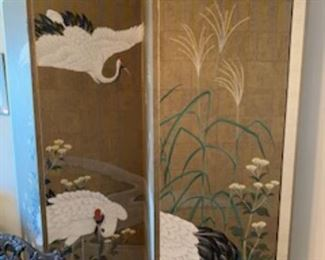 Rare Asian Hand Painted 4 Panel Screen by Robert Crowder