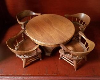 C. Ted Payne Miniature table & chairs.  He' from Whitehall and made meticulous miniatures 50 years ago. This set is dated 1969.