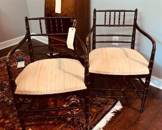 #5- Set of 2 vintage bamboo chairs- black with wood showing through on arms- gorgeous patina