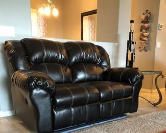 Electric Reclining Sofa and Loveseat, Area Rug, Coffee Table and 3 End Tables