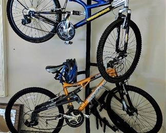 mountain bikes and bike rack