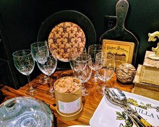 Fleur De Lis wine glasses and stem ware